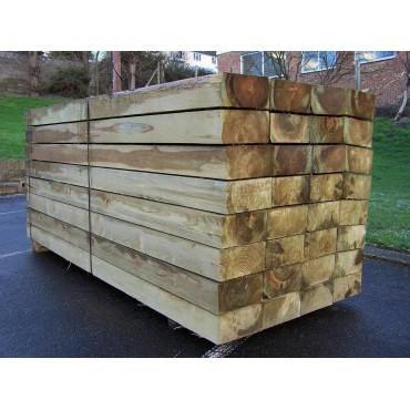 Sleepers - New Green Treated Softwood Railway Sleepers 250mm x 125mm x 4.8m